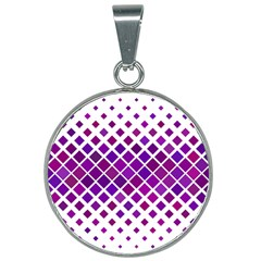 Pattern Square Purple Horizontal 25mm Round Necklace