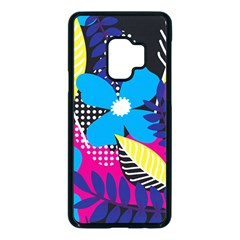 Pattern Leaf Polka Leaves Samsung Galaxy S9 Seamless Case(black)