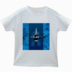 Sport, Surfboard With Water Drops Kids White T Shirts by FantasyWorld7