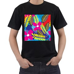 Pattern Leaf Polka Rainbow Men s T-shirt (black) (two Sided) by HermanTelo
