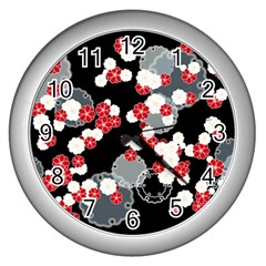 Plum Snow Ring Wall Clock (silver)