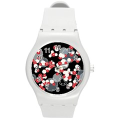 Plum Snow Ring Round Plastic Sport Watch (m)