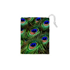 Peacock Feathers Plumage Iridescent Drawstring Pouch (xs)