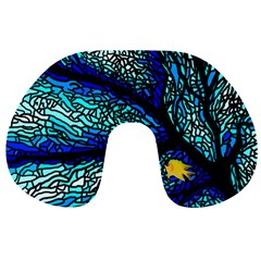 Sea Coral Stained Glass Travel Neck Pillow by HermanTelo