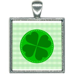 Shamrock Luck Day Square Necklace