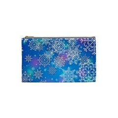 Snowflake Background Blue Purple Cosmetic Bag (small)