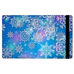 Snowflake Background Blue Purple Apple Ipad 2 Flip Case by HermanTelo