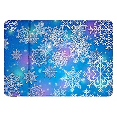 Snowflake Background Blue Purple Samsung Galaxy Tab 8 9  P7300 Flip Case by HermanTelo