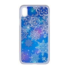 Snowflake Background Blue Purple Iphone Xr Seamless Case (white)