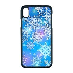 Snowflake Background Blue Purple Iphone Xr Seamless Case (black)