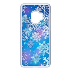 Snowflake Background Blue Purple Samsung Galaxy S9 Seamless Case(white)