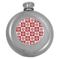 Snowflake Red White Round Hip Flask (5 Oz) by HermanTelo