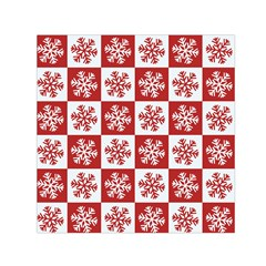 Snowflake Red White Small Satin Scarf (square) by HermanTelo