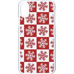 Snowflake Red White Iphone X Seamless Case (white)