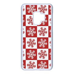 Snowflake Red White Samsung Galaxy S9 Seamless Case(white) by HermanTelo