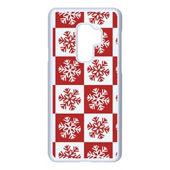 Snowflake Red White Samsung Galaxy S9 Plus Seamless Case(white) by HermanTelo