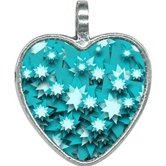 Stars Christmas Ice 3d Heart Necklace by HermanTelo