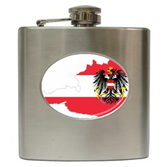 Flag Map Of Austria  Hip Flask (6 Oz) by abbeyz71