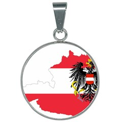 Flag Map Of Austria  25mm Round Necklace by abbeyz71