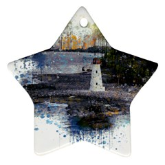 Lighthouse Art Sea Ocean Vintage Star Ornament (two Sides) by Sapixe