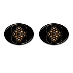 Fractal Stained Glass Ornate Cufflinks (oval)