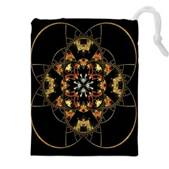 Fractal Stained Glass Ornate Drawstring Pouch (xxxl)