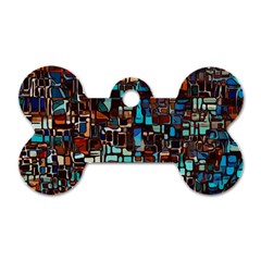 Stained Glass Mosaic Abstract Dog Tag Bone (one Side) by Sapixe