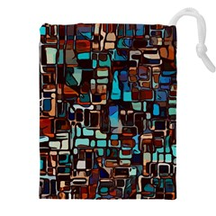 Stained Glass Mosaic Abstract Drawstring Pouch (xxxl)