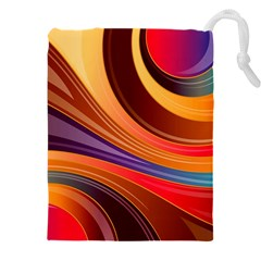 Abstract Colorful Background Wavy Drawstring Pouch (xxxl)