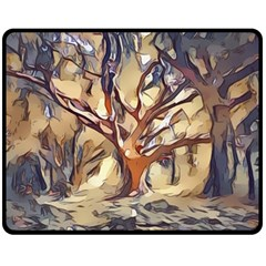 Tree Forest Woods Nature Landscape Double Sided Fleece Blanket (medium)