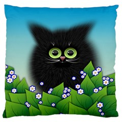 Kitten Black Furry Illustration Large Flano Cushion Case (one Side) by Sapixe