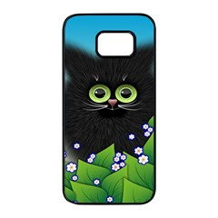 Kitten Black Furry Illustration Samsung Galaxy S7 Edge Black Seamless Case