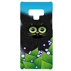 Kitten Black Furry Illustration Samsung Note 9 Black Uv Print Case