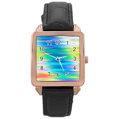 Wave Rainbow Bright Texture Rose Gold Leather Watch