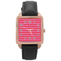 Stripes Striped Design Pattern Rose Gold Leather Watch
