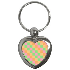 Checkerboard Pastel Squares Key Chain (heart) by Sapixe