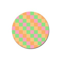 Checkerboard Pastel Squares Magnet 3  (round) by Sapixe