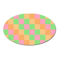 Checkerboard Pastel Squares Oval Magnet by Sapixe