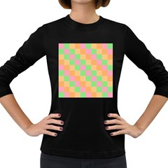 Checkerboard Pastel Squares Women s Long Sleeve Dark T-shirt by Sapixe