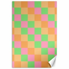 Checkerboard Pastel Squares Canvas 24  X 36  by Sapixe