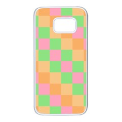 Checkerboard Pastel Squares Samsung Galaxy S7 White Seamless Case
