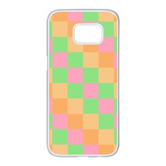 Checkerboard Pastel Squares Samsung Galaxy S7 Edge White Seamless Case