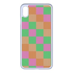 Checkerboard Pastel Squares Iphone Xs Max Seamless Case (white) by Sapixe