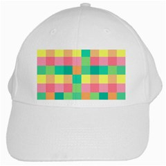 Checkerboard Pastel Squares White Cap by Sapixe