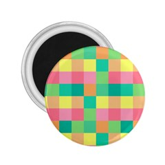 Checkerboard Pastel Squares 2 25  Magnets by Sapixe