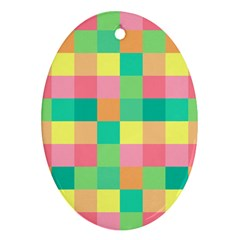 Checkerboard Pastel Squares Ornament (oval)