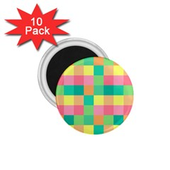 Checkerboard Pastel Squares 1 75  Magnets (10 Pack)  by Sapixe