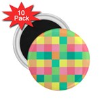 Checkerboard Pastel Squares 2.25  Magnets (10 pack)  Front