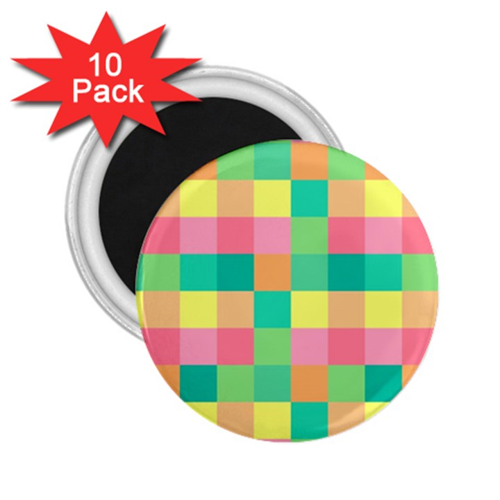 Checkerboard Pastel Squares 2.25  Magnets (10 pack)