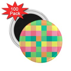Checkerboard Pastel Squares 2 25  Magnets (100 Pack)  by Sapixe